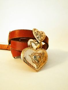 Vintage Southwestern Leather & Metal Heart Belt / Women's Size 30-34 Inch Waist / Western / Cowgirl / Heart Concho Bealt by JulesCristenVintage on Etsy