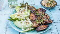 Grillede marinerte kyllinglår med maissalat
