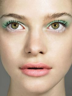Mint and white eye shadow