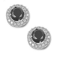 2.60 Carat Round Cut Jet Black Diamond CZ Round Lab White Topaz Solid Sterling Silver Halo Fashion Stud Post Earrings Bridesmaid Love Gift
