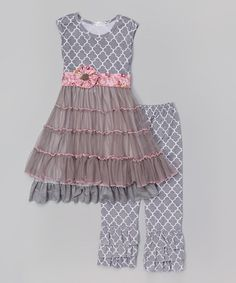 Another great find on #zulily! Gray Quatrefoil Dress & Ruffle Pants - Infant, Toddler & Girls #zulilyfinds