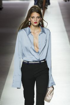 The blue silk blouse at Topshop Unique  The Best Looks from London Fashion Week Spring 2016   StyleCaster