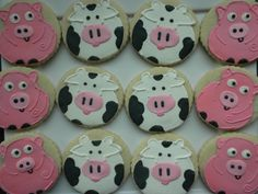Farm animals - cookies for a barnyard themed party!