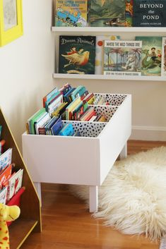 diy book bin in girl room decor, diy book bin in kid room decor, kid playroom design, kid room design ideas, kid storage ideas