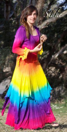 Gorgeous Hand dyed Rainbow Fae Dress created to fit the par kyecrow - rainbow dress - Rainbow Outfit, Rainbow Clothes, Rainbow Wedding Dress, Pride Outfit, Fairytale Fashion, How To Tie Dye, Boho Beautiful, Hippie Outfits, Tye Dye