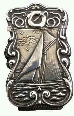 Antique Sterling Silver NAUTICAL SAILBOAT Match Safe Vesta Case Box Holder