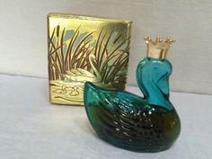 Vintage Avon Blue Glass Royal Swan Perfume by VintageRoseandLace