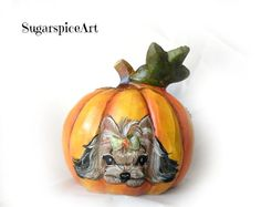 "Available on EBay under ""SugarspiceArt""! Yorkie Hand Painted Autumn Harvest Halloween Pumpkin Home Decor by SugarspiceArt"