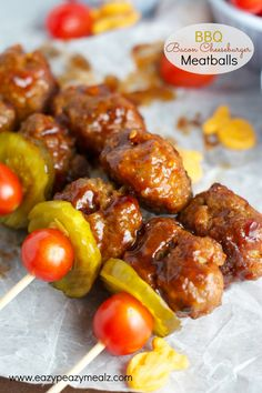 BBQ Bacon Cheeseburger Meatballs: These have a fun surprise ingredient and are packed with flavor! Perfect for game day! #GoldfishMix #ad @Walmart- Eazy Peazy Mealz