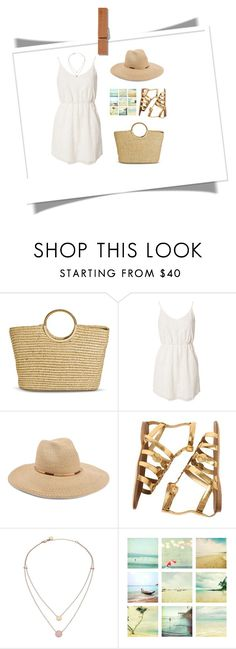"""""""Straw bag"""" by styleskater7 ❤ liked on Polyvore featuring Merona, Jeane Blush, Eugenia Kim, Miu Miu, Michael Kors, outfit, dress, strawbags and contestentry"""