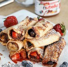 #breakfast #nutella #strawberries #bananas #delicious