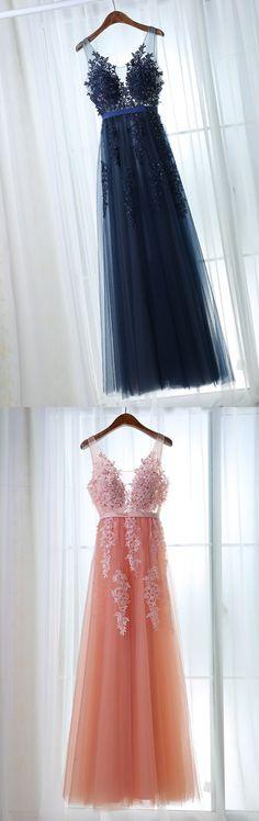 navy blue prom dresses, prom dresses, v back prom dresses, appliques prom dresses, a line prom dresses, v neck prom dresses, sheer prom dresses, long prom dresses
