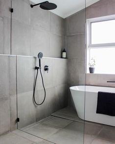 Bathroom Ideas Wet Room, Concrete Bathroom, Grey Concrete Bathroom Renovation, Full Height Tiling, F Wet Room Bathroom, Wet Room Shower, Laundry In Bathroom, Bathroom Layout, Bathroom Grey, Bathroom Tile Walls, Small Bathroom With Bath, Small Bathroom Ideas, Shower Recess