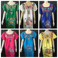 ANY COLOR PEASANT VINTAGE TUNIC EMBROIDERED MEXICAN DRESS S M L XL XXL PLUS SIZE #Handmade #Tunic #Casual