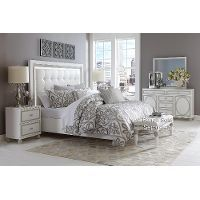 Amazing 6PC:90256SKYTOWER66 Sky Tower White 6 Piece King Contemporary Bedroom Set