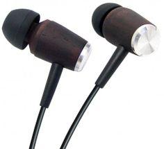 Wooden earplugs / in-ear headphone ebony