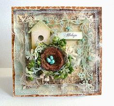Cute Handmade Shabby Chic Easter Card with birds nest, by Dorota Quilling, Shabby Chic Cards, Cardmaking And Papercraft, Thing 1, Scrapbook Cards, Scrapbooking, Beautiful Handmade Cards, Bird Cards, Get Well Cards