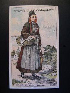 Antique Chromo card Chocolade c.1900 Femme de Plouay, Paul Mairesse Cambrai... #PaulMairesse