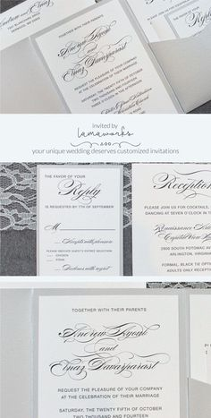 Keep your wedding invitation elegant, modern and drop dead gorgeous. This silver pocket invitation is perfect for a formal wedding with just a touch of glam. Want to ramp up the glam factor? Add in a glitter belly band or envelope liner!  Click to find out how to customize them for your unique wedding day  Invited by LamaWorks www.invitedbylamaworks.com every invitation deserves to be custom #formalweddinginvitations