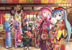 Tags: Fanart, Hatsune Miku, Vocaloid, Kagamine Rin, Kagamine Len, KAITO, Megurine Luka, MEIKO (Vocaloid), Pixiv, Fuji Choko, Fanart From Pixiv