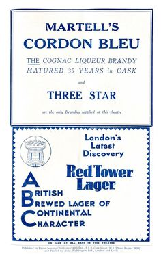 From London in 1932 an advertisement for Martell Cordon Bleu cognac liqueur brandy and Red Tower lager.
