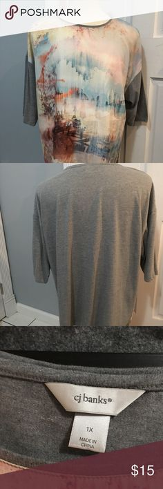 Fantastic CJ BANKS Watercolor 3/4 sleeve t-shirt Gorgeous!!! Watercolor print on front and then grey solid on back.  Size 1X.  Very gently worn.  We are cleaning out closets and have many designer items that need to find a new closet.  PRICED TO SELL QUICKLY!!! Bundle bundle bundle for additional savings. CJ BANKS Tops Tees - Long Sleeve