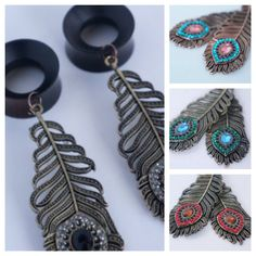 Pair of Gorgeous wood tunnels with bronze peacock feather dangles. These are already made and ready to ship in 25mm 1. Like these wood tunnels, but