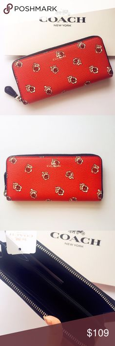 """NWT 🌹COACH Floral Wallet Authentic NWT COACH slim wallet  Twelve credit card and multifunction pockets Full-length bill compartment Zip coin pocket Zip-around closure 7 3/4"""" (L) x 4"""" (H)  offers welcome . Pics are from actual items . No lowball offers , no trade please . Thanks xo Coach Bags Wallets"""