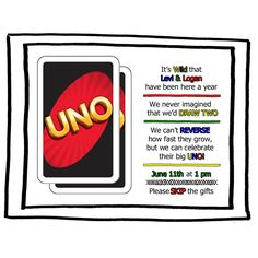 UNO: Invite for twins @Heather Wimmer, ps. can't steal my party theme! ;)
