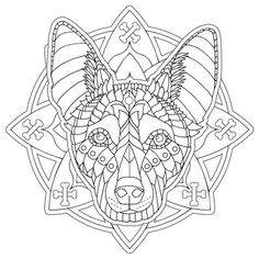 "Australian Kelpie from my ""Decorative Dogs"" adult coloring book. See it here: https://www.amazon.com/Decorative-Dogs-Coloring-Featuring-Serenity/dp/1944943013"