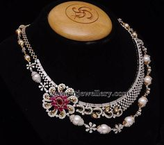Jewellery Designs: South Pearls Diamond Two Rows Set