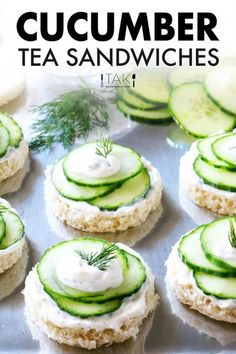 An easy recipe for traditional Cucumber Tea Sandwiches spruced up with a simple cream cheese dill spread and English cucumbers! Perfect for tea time, showers, and more! Serve open-face or in between two slices of white bread. Easy Sandwich Recipes, Wrap Recipes, Vegan Recipes Easy, Vegan Appetizers, Appetizer Recipes, Tapas Recipes, Dinner Recipes, Kitchen Recipes, Beef Recipes