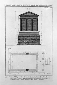 Engraving of facde and plan of the Temple of the Sibyl, Tivoli