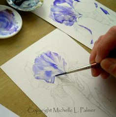 Grape, purple Iris in watercolor
