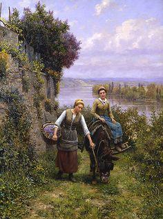 """""""Returning Home"""" von Daniel Ridgway Knight (geboren am 15. März 1839 in Philadelphia, Pennsylvania, gestorben am 9. März 1924 in Paris), US-amerikanischer Maler."""