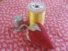 Sweet Antique Strawberry Pin Cushion Needle Sharpener Victorian Chatelain   eBay Vintageblessings