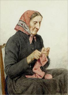 ALBERT ANKER_Sitzende Bäuerin beim Stricken, 1904