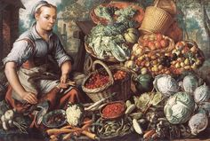 Market Woman with Fruit, Vegetables and Poultry by Joachim Beuckelaer - Oil Painting from OilPaintings.com
