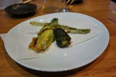 Zucchini blossom, morel and asparagus tempura by Tojo-san  At the Tojo-san and Susur Lee chef collaboration @EAT_Vancouver dinner series at @tojos_restaurant #Vancouver