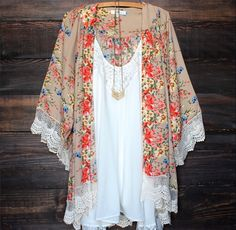 Floral Lace Kimono Cardigan - Summer fashion 2015. www.psiloveyoumoreboutique.com