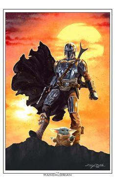 The Mandalorian by duanenicholsart on DeviantArt Star Wars Comics, Star Wars Cartoon, Images Star Wars, Star Wars Pictures, Star Wars Concept Art, Star Wars Fan Art, Star Trek, Star Citizen, Cuadros Star Wars