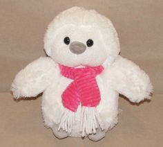 "Animal Adventure White Snowy Owl Plush Stuffed Pink Scarf 2014 Toy 9"" L5670 #AnimalAdventure"