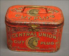 Central Union Cut Plug Tobacco Lunch Pail Tin