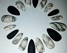 Marble Stiletto Nails- Press on Nails- Glue on Nails- Acrylic Nails- Artificial Nails- False Nails- Faux Nails- Matte Nails- Fake Nails
