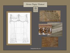 Favreau Bronze and Titanium Drapery Treatment. metallic bronze/ copper damask with hand tied tassel trim in slate, taupe, and antique gold. Contrasting metallic chenille banding option.