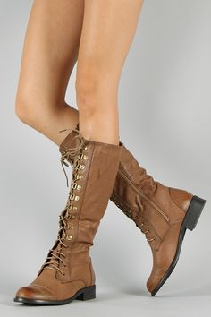 Darren Round Toe Lace Up Military Knee High Boot $34.90
