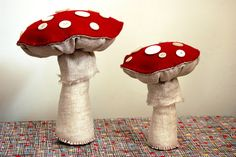 Fabric and felt mushrooms by Stephanie Congdon Barnes
