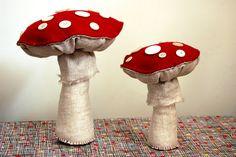 Fabric and felt mushrooms by Stephanie Congdon Barnes