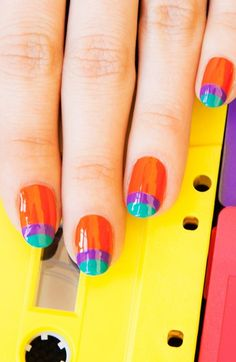 Best nail polish designs to try in 2015 Fancy Nails, Pretty Nails, Gorgeous Nails, Nail Polish Designs, Nail Art Designs, Bright Nails, Colourful Nails, Best Nail Polish, Orange Nails