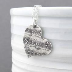 Partitura collar collar de plata colgante corazón salvaje collar plata esterlina música encanto plata colgante Bohemia joyería